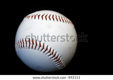 baseball ball on black background - stock photo