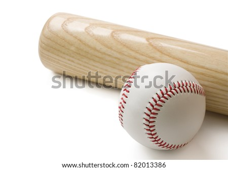Baseball bat and baseball isolated on white background with clipping path. - stock photo