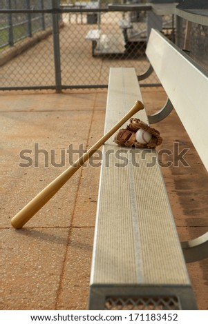 Baseball & Bat and Glove in the Dugout - stock photo