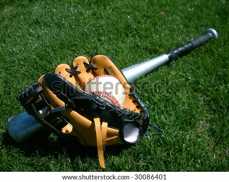 Baseball, bat, glove - stock photo