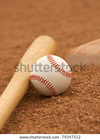 Baseball & Bat on the Infield with room for copy