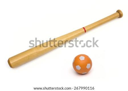 baseball bat on the white background - stock photo