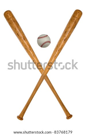 Baseball bats and ball isolated over white background - stock photo