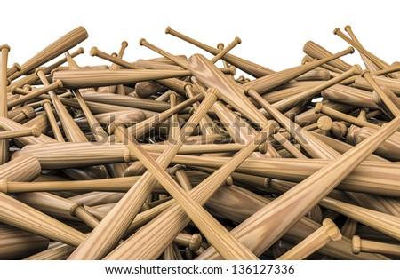 Baseball bats pile - stock photo