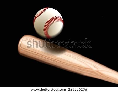 Baseball Bet Hitting Ball - stock photo