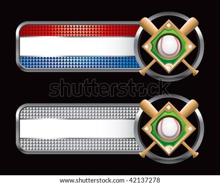 baseball diamond striped banners - stock photo