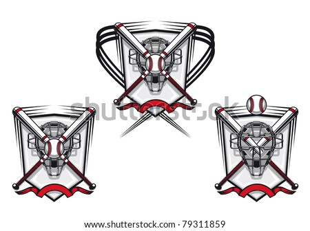 Baseball emblems set for sports design or mascot, such a logo. Vector version also available in gallery - stock photo