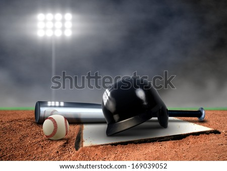 Baseball Equipment under spotlight - stock photo