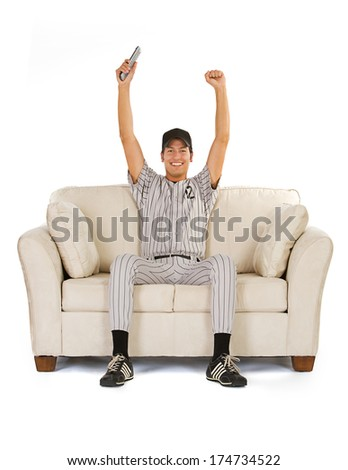 Baseball: Fan Cheers For His Favorite Team - stock photo