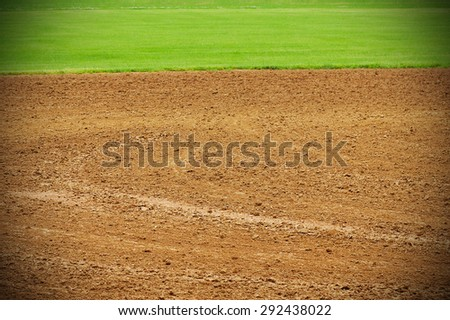 Baseball Field with grass and baseball turf - stock photo