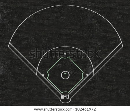 baseball field written on blackboard background, high resolution, easy to edit and use - stock photo