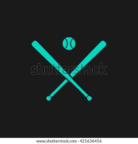 baseball Flat icon on black background. Simple symbol - stock photo