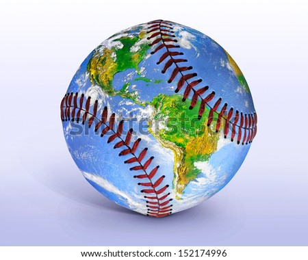 Baseball Globe Illustration, An Image Of The Earth From Space Seemingly Painted Onto A Baseball, Digital Art - Photo Illustration, This File Has A Clipping Path - stock photo