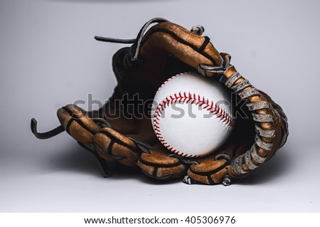 Baseball Glove and Ball High Definition Close Up