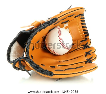 Baseball glove and ball isolated on white