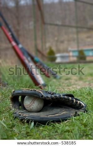 Baseball Glove and Bats - stock photo