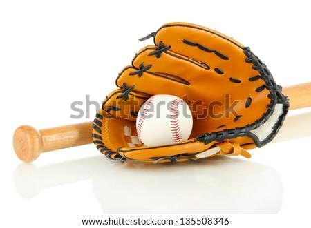 Baseball glove, bat and ball isolated on white - stock photo