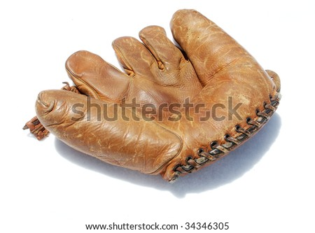 Baseball glove, isolated on white - stock photo