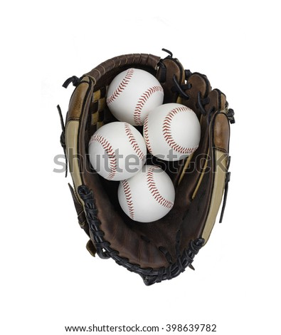 Baseball Glove with Four Balls Isolated on White Background.