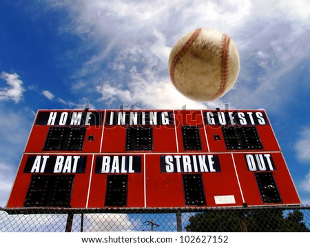 Baseball homerun with scoreboard and Blue Sky - stock photo