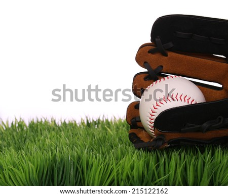 Baseball in Glove on Green Grass, isolated on white.  - stock photo