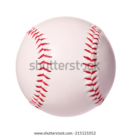 Baseball isolated on white. Ball with clipping path - stock photo