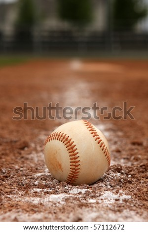 Baseball on the base line