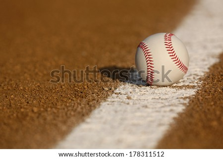 Baseball on the Infield Chalk Line with room for copy