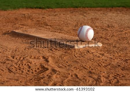 Baseball on the Pitchers Mound - stock photo