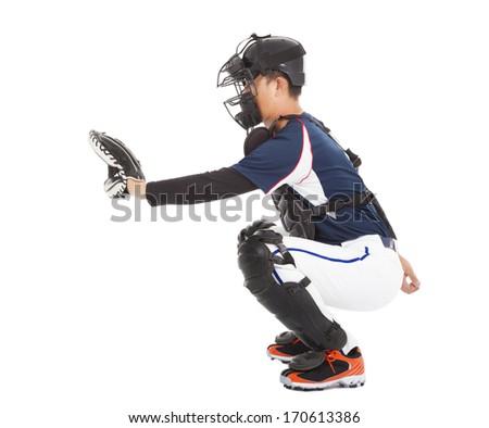 Baseball Player, Catcher, ready to catch a ball  - stock photo