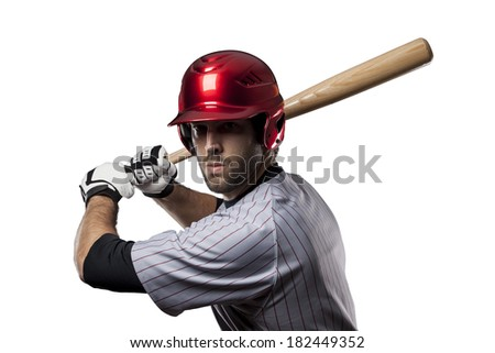 Baseball Player in red uniform, on a white background. - stock photo