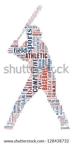 Baseball player info-colorful text graphic and arrangement concept on white background (word cloud) - stock photo