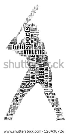 Baseball player info-text graphic and arrangement concept on white background (word cloud) - stock photo