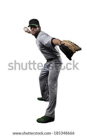 Baseball Player, pitcher, in a Green uniform, on a white background.
