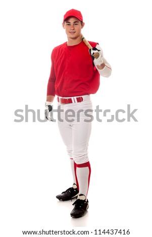 Baseball player with bat. Studio shot over white. - stock photo