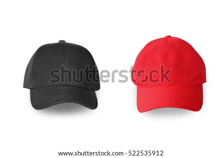Baseball red and black cap isolated on white background. This has clipping path.