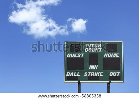 Baseball Score board against blue sky - stock photo