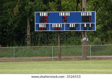Baseball Scoreboard in the Outfield - stock photo