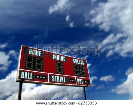 Baseball scoreboard with blue sky and clouds - stock photo