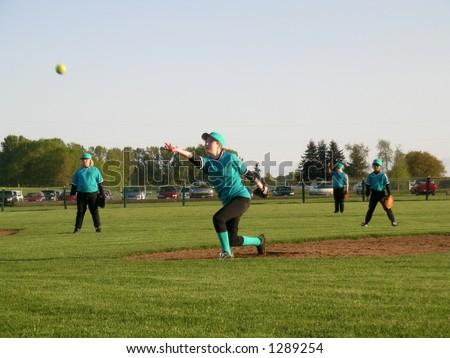 Baseball Season, nice pitch - stock photo