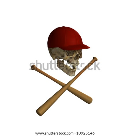 Baseball Skull and Cross Bats Isolated on a white background - stock ...