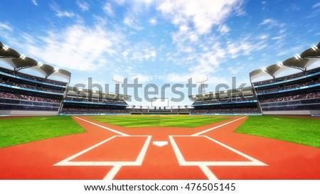 baseball stadium playground with blue cloudy sky, sport theme 3D illustration