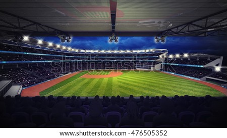 baseball stadium under tribune view with spectators, sport theme 3D illustration