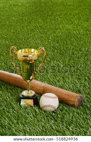 baseball trophy with bat and hard ball