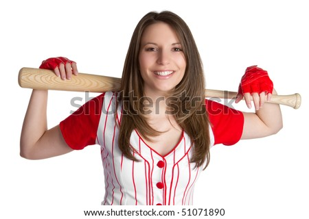 Baseball Woman With Bat - stock photo
