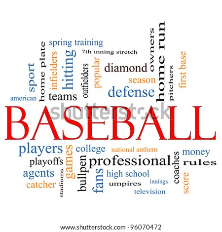 Baseball Word Cloud Concept with great terms such as coaches, innings, home run, pitchers, home plate, games and more. - stock photo