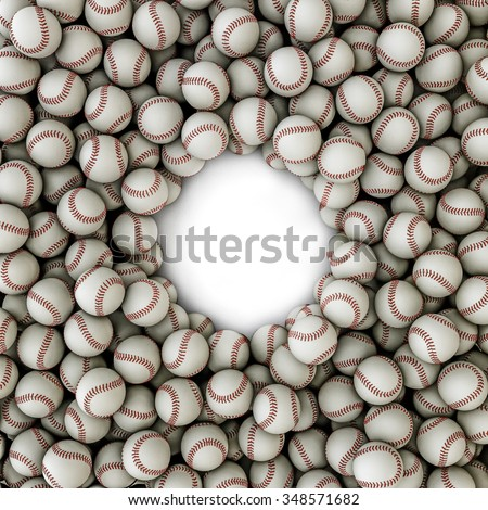 Baseballs frame / 3D render of baseballs framing copy space - stock photo