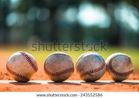 Baseballs on Pitchers Mound - stock photo