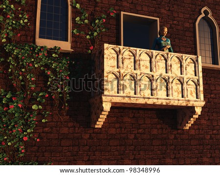 Based on the play by William Shakespeare and the actual building in Verona, Juliet stands gazing from her balcony - stock photo
