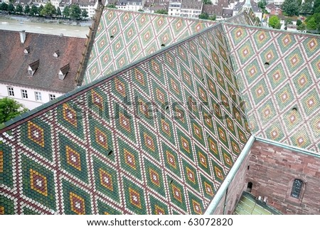 Basel Cathedral Multicolored Roof - stock photo
